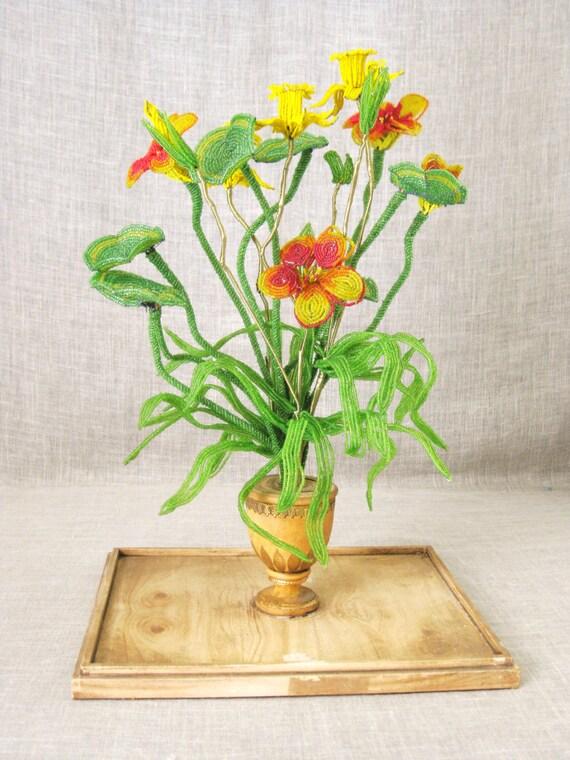 beaded flowers antique beaded flower arrangement