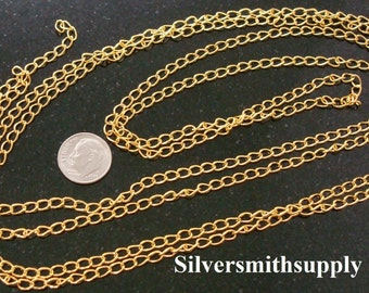 6' Yellow gold plated bulk twist cable link 5.5mm make necklace extenders CH069