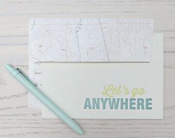 let's go anywhere letterpress card