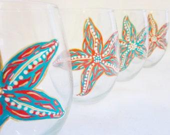 Hand Painted Starfish Wine Glasses by Mimossa Studio LLC