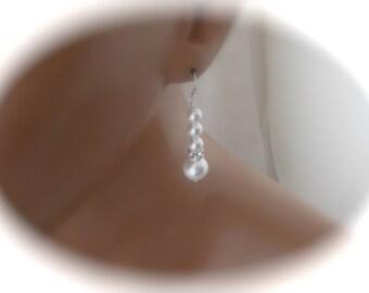 Pearl earrings Dangle Earrings wedding jewelry Sterling Silver Earrings