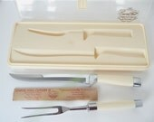 Carvel Hall Set Serving Fork and Carving Knife  Bakelite Handles in Box by Briddell Cutlery