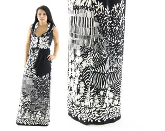 Vintage 70 Paganne Maxi Dress Op Dress Art Zebra Print Sleeveles Dress Deep V Black White Womens Fashion 1970s Medium M