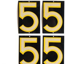 Vintage Reflective Number 5 Five, (SINGLE) E1614-5