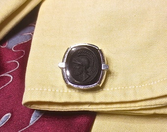 Vintage Man's 1960's-1970's DANTE Silver & Black Glass Roman Solder Head Glass Cuff Links