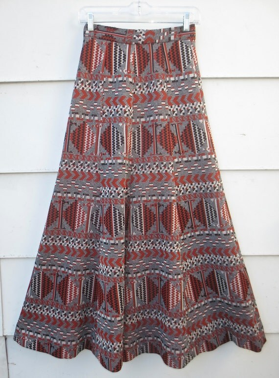 vintage 1960 s 1970 s mermaid maxi skirt wool by