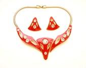 Vintage Red Enamel Necklace Earrings Modernist Design