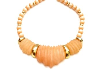 Vintage Napier Frosted Peach Colored Necklace Orange Collar Choker from the 1985 Frosted Sherbet Collection Book Piece