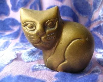 Small BRASS CAT Figure, Stylized Metal Feline 3 Inch Figurine, Cats, Felines