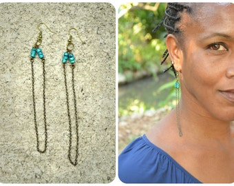 Turquoise & Vintaj Chain Earrings