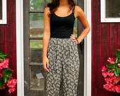 Ink Bouquet Vintage Black and White Floral Print Pants Slouchy Spring Tapered Jogger Harem Trouser Pants