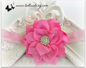 Pink Flower with Rhinestone middle Headband