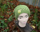 Lovely in Lime Crocheted Chunky Slouchy Beanie with Button Detail