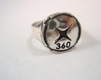 Handmade Xbox 360 logo ring Silver Sterling 925 fans ring