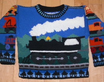 Knitting Pattern: Trains Size Three Years