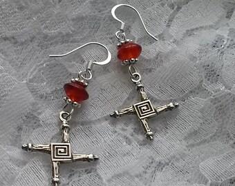 Bridget's Cross Earrings, St Brigid or St Bridgit Irish Cross, Imbolc Earrings