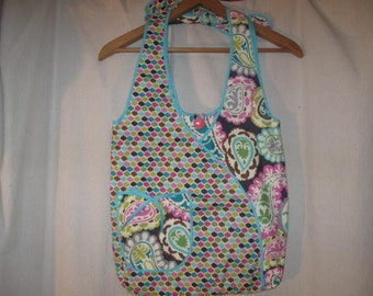 Gray Turqouise Pink Paisley Geometric Cotton Large Hobo Shoulder Bag Purse Tote