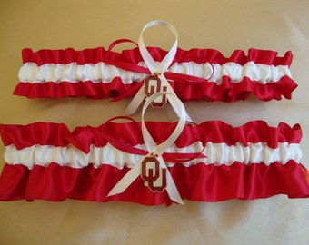Wedding Garter Set with University of Oklahoma Colors