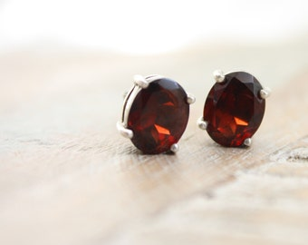 VTG Sterling Silver and Dark Red Garnet Post Earrings, small gift