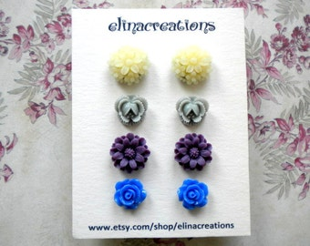 Cabochon Earrings Resin Post Earrings Blueberry Earrings Studs Flower Earrings Gift Set Earrings Flower Post Earrings Flower Stud Earrings