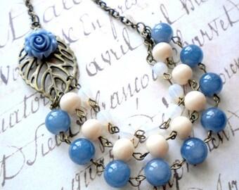 Blue Statement Necklace Denim Blue Necklace Leaf Necklace Blue Bridesmaid Necklace Bib Necklace Blue Flower Necklace Blue Wedding Jewelry