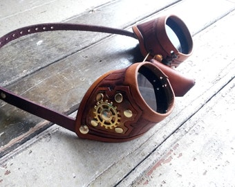 Custom Steampunk Leather Goggles