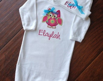 Infant Gown Set- Sleeping gown and hat Set- Personalized Gift Set- Baby Shower Set- Infant Set