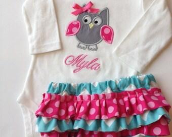Personalized Ruffled Diaper Cover Set- Owl Diaper Cover Set-  Owl Bodysuit Set-Personalized Embroidered Owl Bodysuit