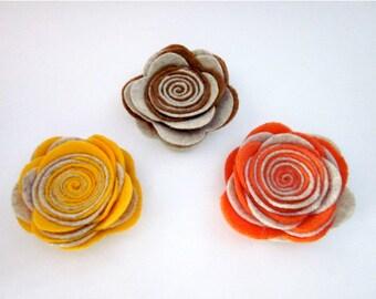 Taupe Flower -- Felt Flower Pin -- Felt Pin -- Two Tone Pin -- Taupe Pin -- Taupe Felt Pin -- Taupe Clip -- Taupe Brooch -- Flower Brooch