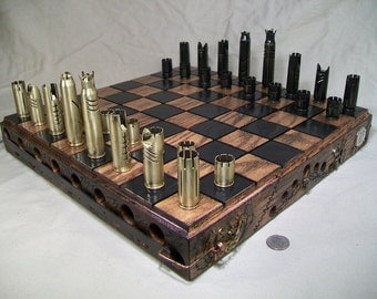 Large 16 Inch custom made steampunk .50 caliber bullet shell chess set.   DISPLAY MODEL ONLY