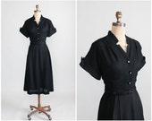 Vintage 1950s Dress : Early 50s Black Rayon Pintuck Dress
