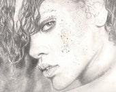 rihanna - art PRINT of original drawing...