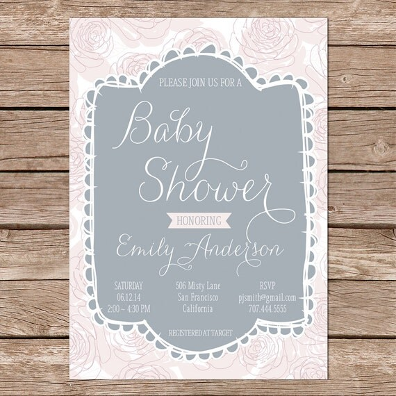 shabby chic baby shower invites girl baby shower invitations