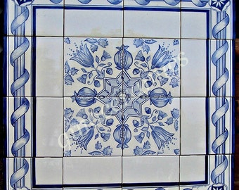 Large ceramic tile mural hand painted in the italian for Delft tile mural