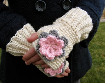 Girls Fingerless Gloves- Cream- Size 2T-5T- Ready to Ship