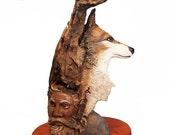Totem Wood Original Rick Cain Wolf Old Man Raven Fantasy Wood Carving Sculpture