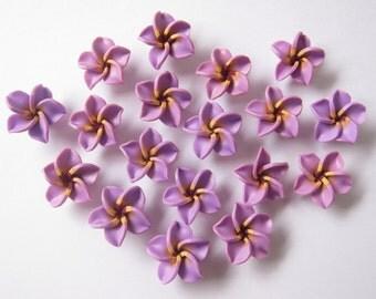 10 pcs Purple Plumeria Frangipani Flower Polymer Clay Beads/Flatback 25mm