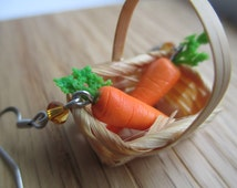 Farmer's Market Carrot Earrings - Polymer Clay Vegetable Jewelry Vocaloid Cosplay