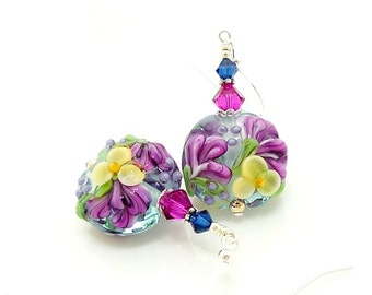 Blue Hot Pink Floral Earrings, Blue Earrings, Floral Earrings, Lampwork Earrings, Glass Earrings, Glass Bead Jewelry, Glass Bead Earrings