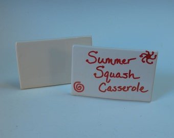 Reusable PotLuck Dish Labels or Place Cards - Set of 2 - Hand made in White