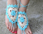 Mint Barefoot Sandals, Lace Barefoot Sandals, Crochet Sandals, Beach wedding sandals, Wedding Anklet, Anklets for Women