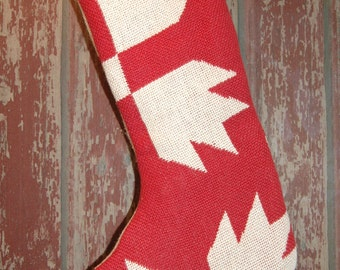 Primitive Reversible Fully Lined Coverlet Christmas Stocking Red Natural Bear Paw Coverlet Nice