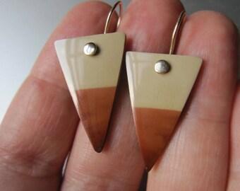 Imperial Jasper Arrowhead Drops Solid 14k Gold Earrings