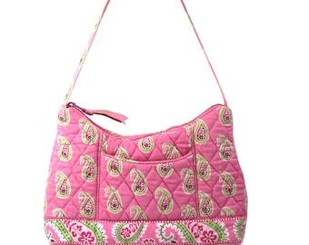 Vintage Vera Bradley Paisley Pink & Green Printed Quilted Handbag // Purse