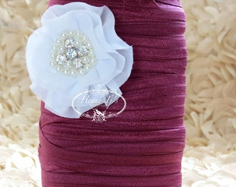 "5/8"" Shiny WINE /  Burgundy Fold Over Elastic Headband Elastic - 5 or 10 yds Solid FOE - Elastic Hair Ties Headband Supplies"