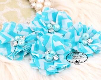 NEW: 4 pcs Aubrey AQUA  White Chevron - Soft Chiffon with pearls and rhinestones Layered Small Fabric Flowers, Hair accessories