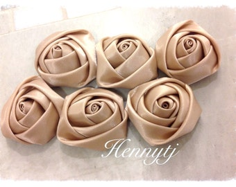 LIMITED : Set of 6 - 30mm Adorable PETITE Rolled Satin Rose Satin Rosettes Fabric flowers - TAN / Light Brown