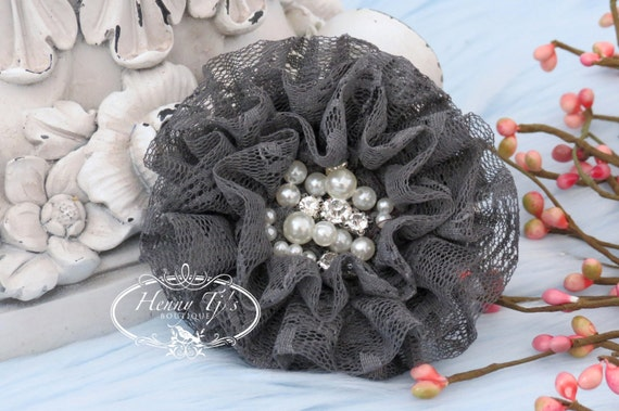 NEW: The Sunridge- 2 pcs 3 inch CHARCOAL Grey Ruffled Lace Fabric Flowers w/ rhinestones pearls center , Hair Appliques Accessories