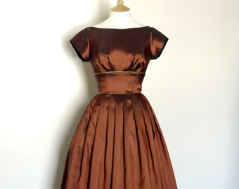 Copper Taffeta Evening Dress with Cap Sleeves - Made by Dig For Victory