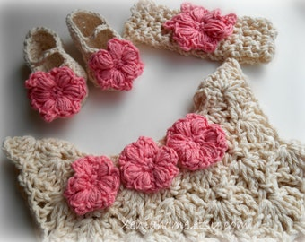Hand Crocheted 100% Cotton Dress / Jumper Set with Headband and Booties / Shoes in Ecru and Soft Pink 3-6 months READY TO SHIP